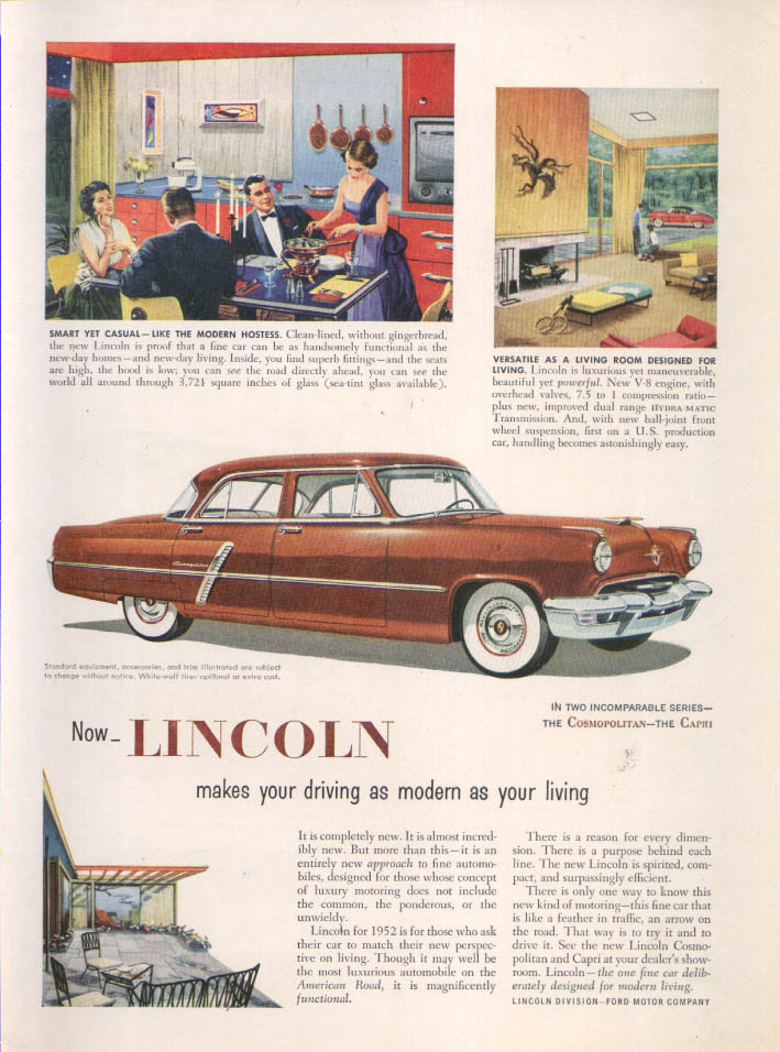 Image for Lincoln makes driving as modern as your living ad 1952