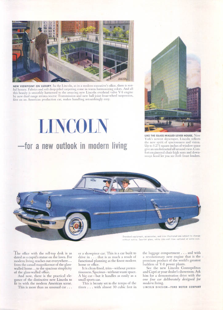 Image for Lincoln for a new outlook in modern living ad 1952
