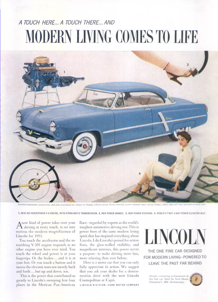 Image for Lincoln modern living comes to life ad 1953