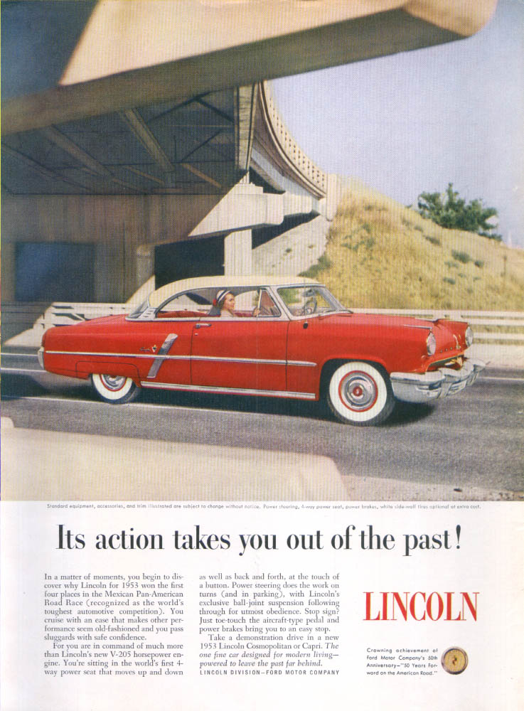 Image for Lincoln action takes you out of the past ad 1953
