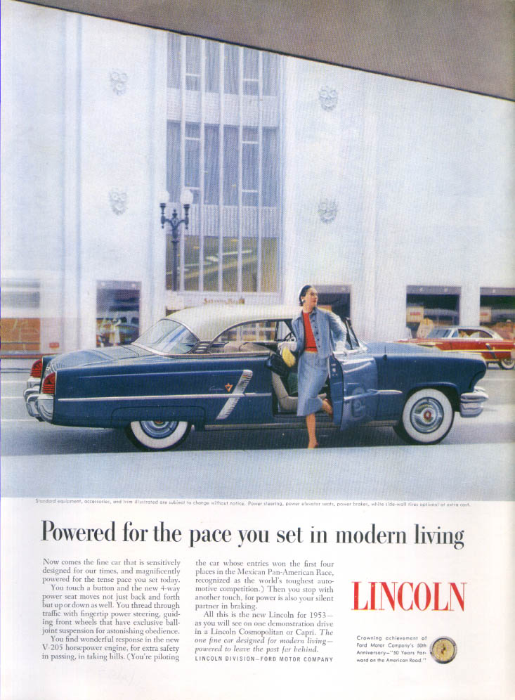 Image for Lincoln powered for modern living pace ad 1953