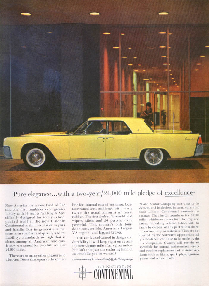 Image for Lincoln Continental pure elegance pledge ad 1961