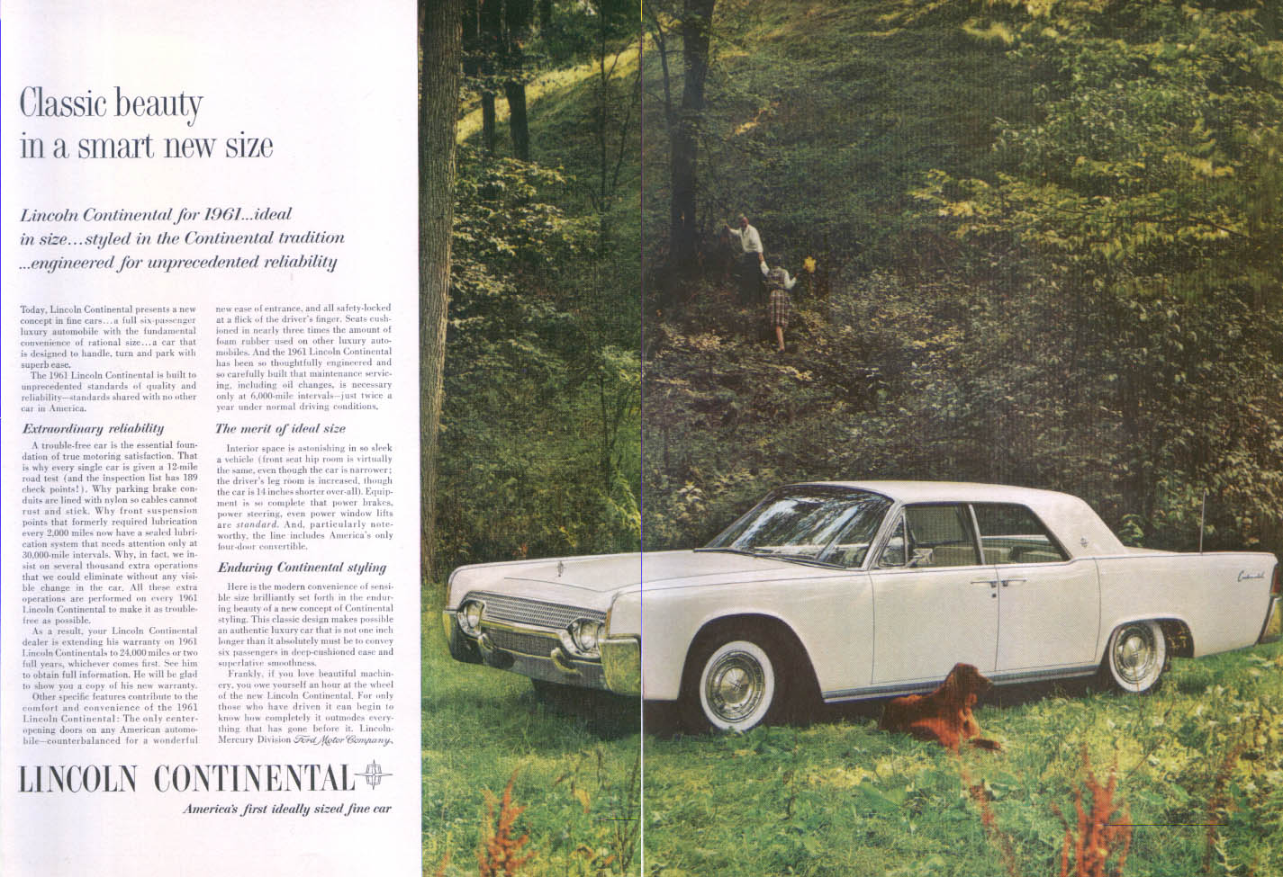 Image for Lincoln Continental classic beauty smart size ad 1961