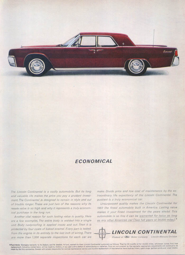 Image for Lincoln Continental Economical ad 1962