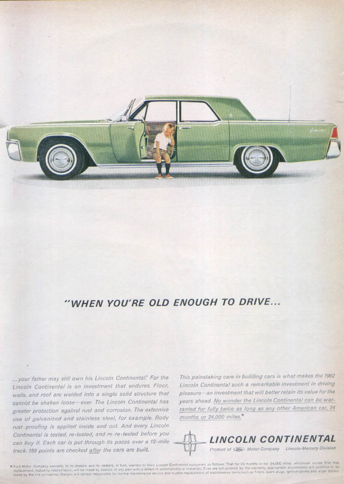 Image for Lincoln Continental ...old enough to drive ad 1962