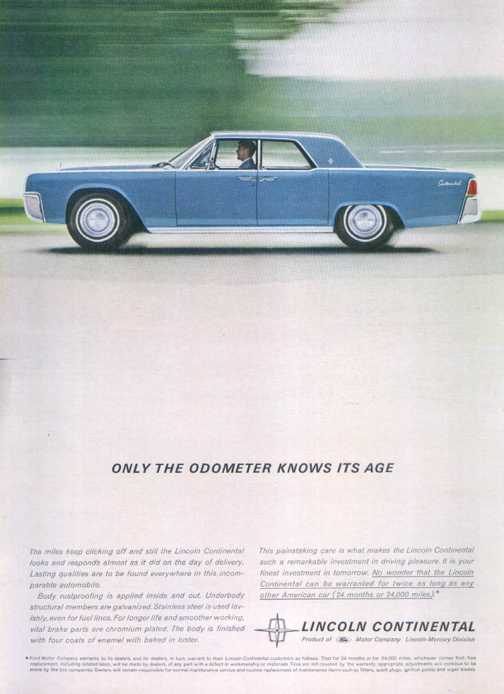 Image for Lincoln Continental only the odometer knows age ad 1962