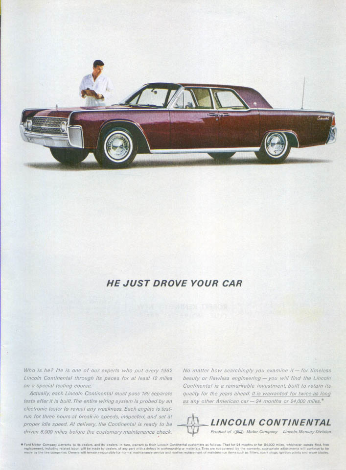 Image for Lincoln Continental He Just Drove Your Car ad 1962