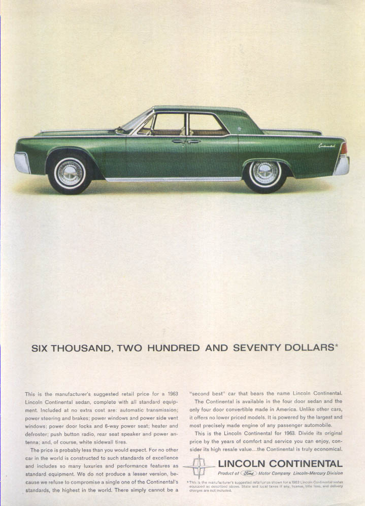 Image for Lincoln Continental Suggested Retail $6,270 ad 1963
