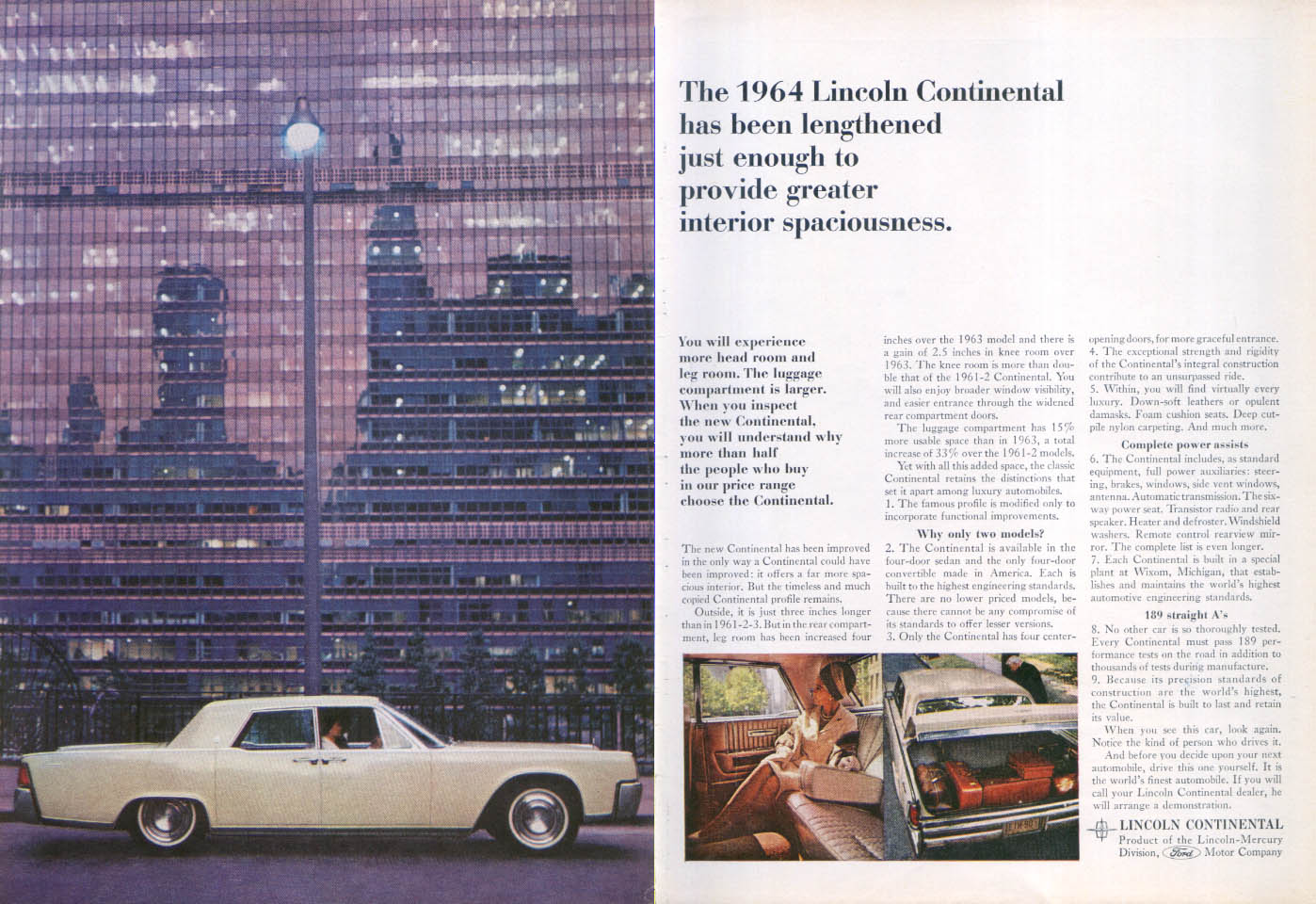 Image for Lincoln Continental the world's most copied car ad 1964