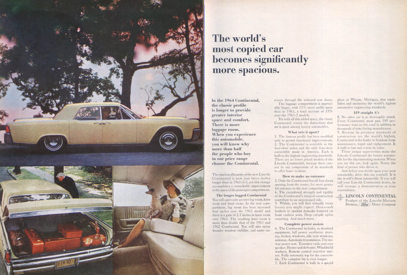 Image for Lincoln Continental lengthened for spaciousness ad 1964
