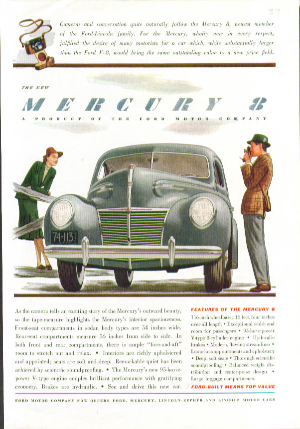 As the camera tells an exciting story The New Mercury 8 ad 1939