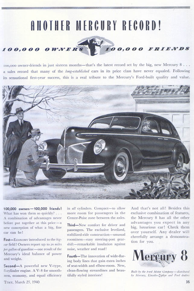 Another Record 100,000 Owners & Friends Mercury ad 1940