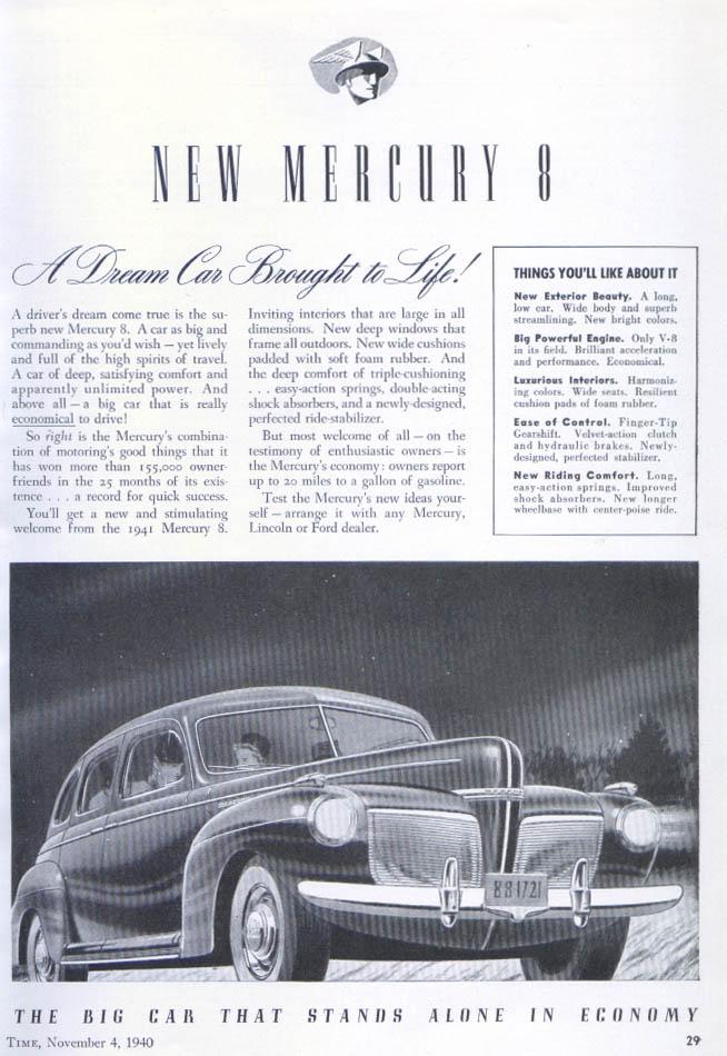 A Dream Car Borught to Life! Mercury ad 1940