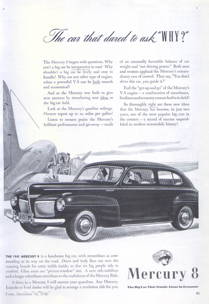 Image for The car that dared to ask WHY? Mercury ad 1941