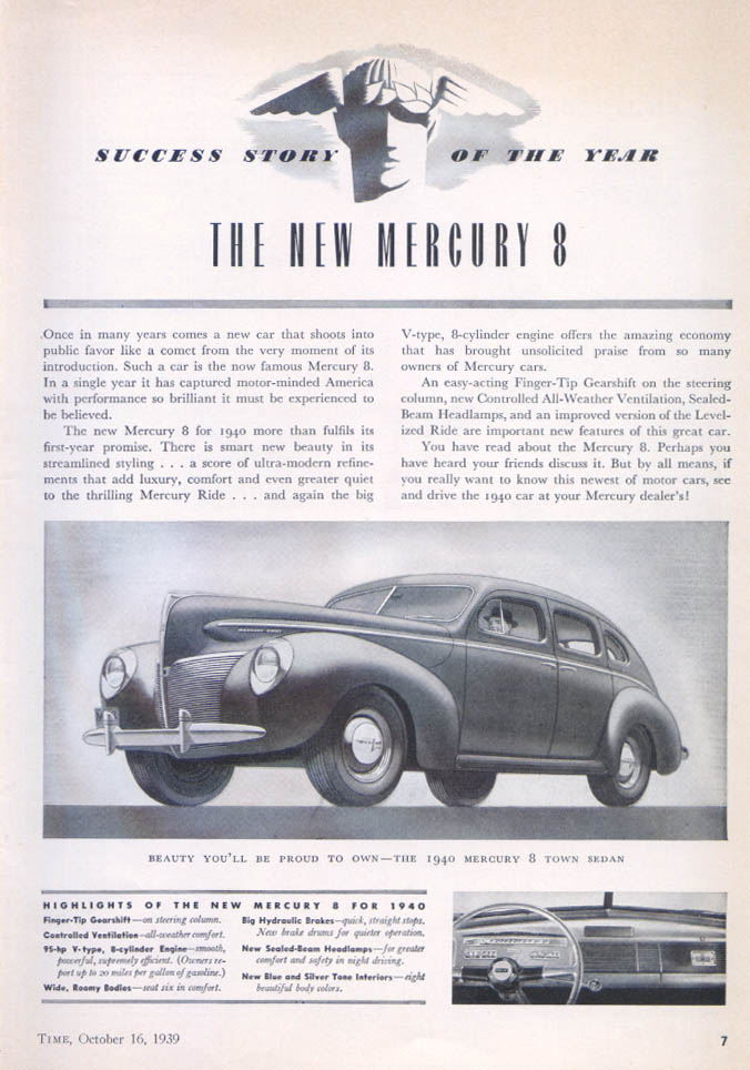 Image for Success Story of the Year Mercury ad 1940