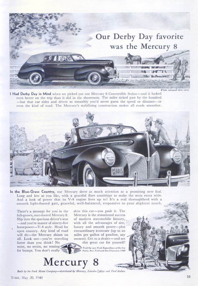 Image for Derby Day favorite Mercury convertible sedan ad 1940