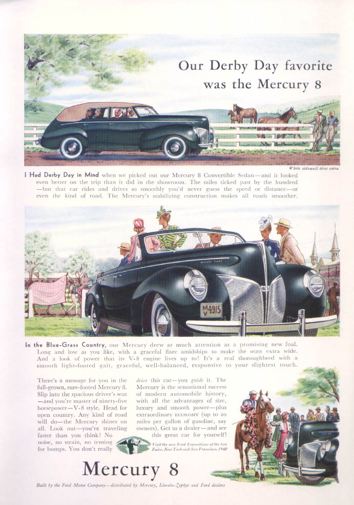 Derby Day Favorite Mercury color ad convertible sedan