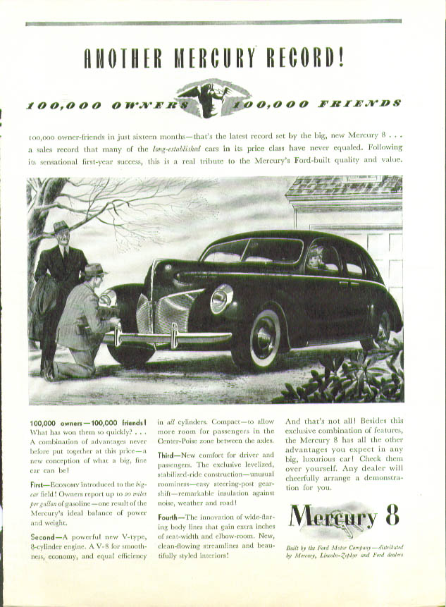 Another Mercury Record! 100,000 owners ad 1940