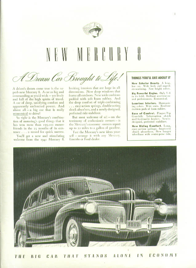 A Dream Car Brought to Life! New Mercury 8 ad 1941