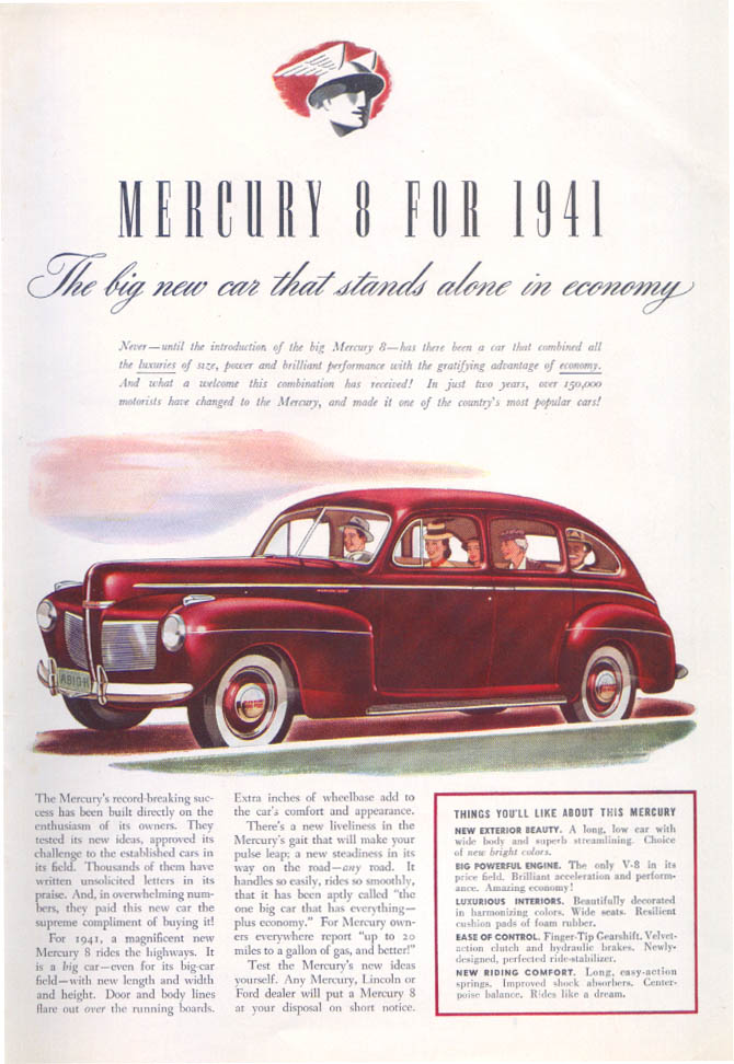 Big new car stands alone in economy Mercury ad 1941