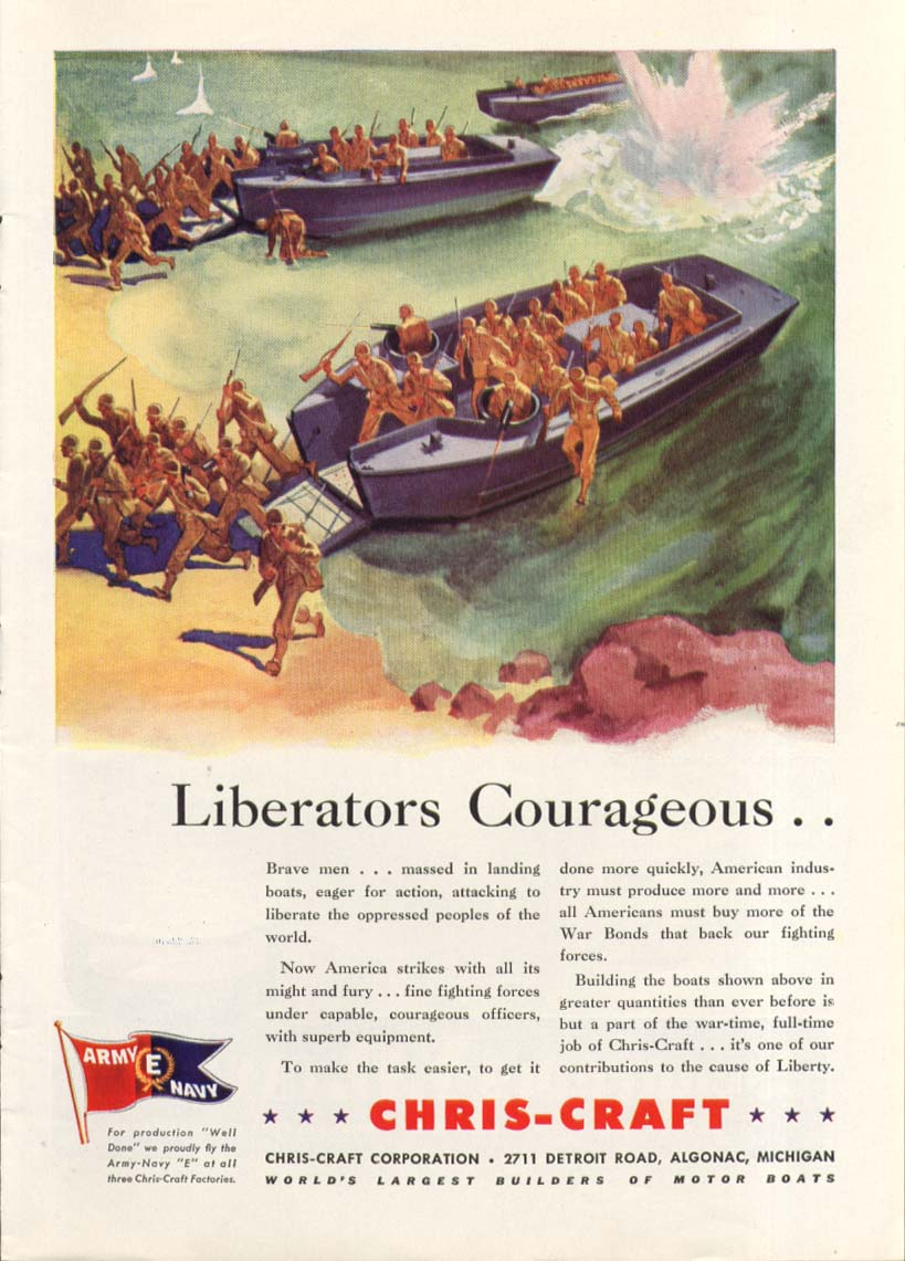 Liberators Courageous Chris-Craft Landing Boats ad 1942
