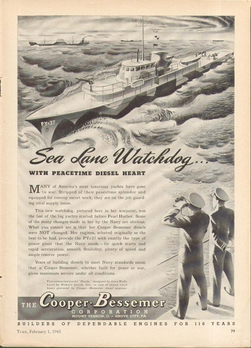 Sea Lane Watchdog Yacht PYc37 Cooper-Bessemer ad 1943