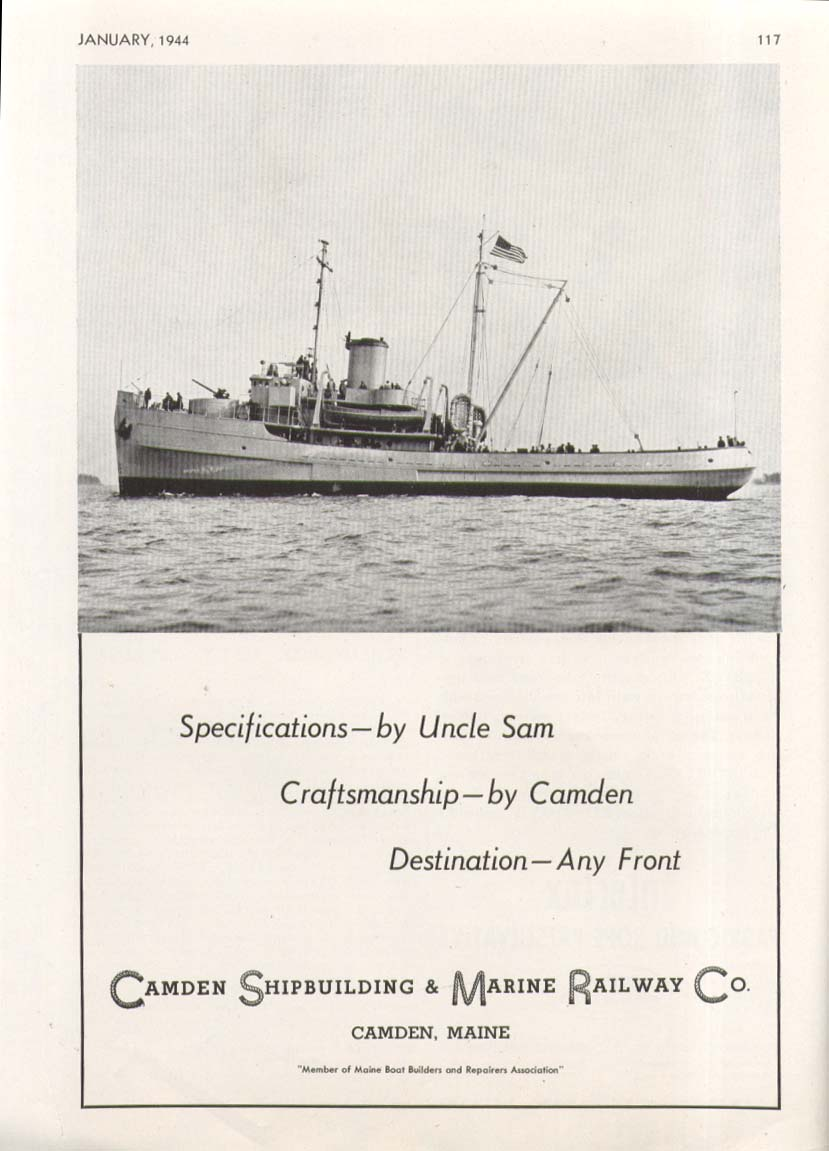 US Navy Sea Tug by Camden Shipbuilding ME ad 1944