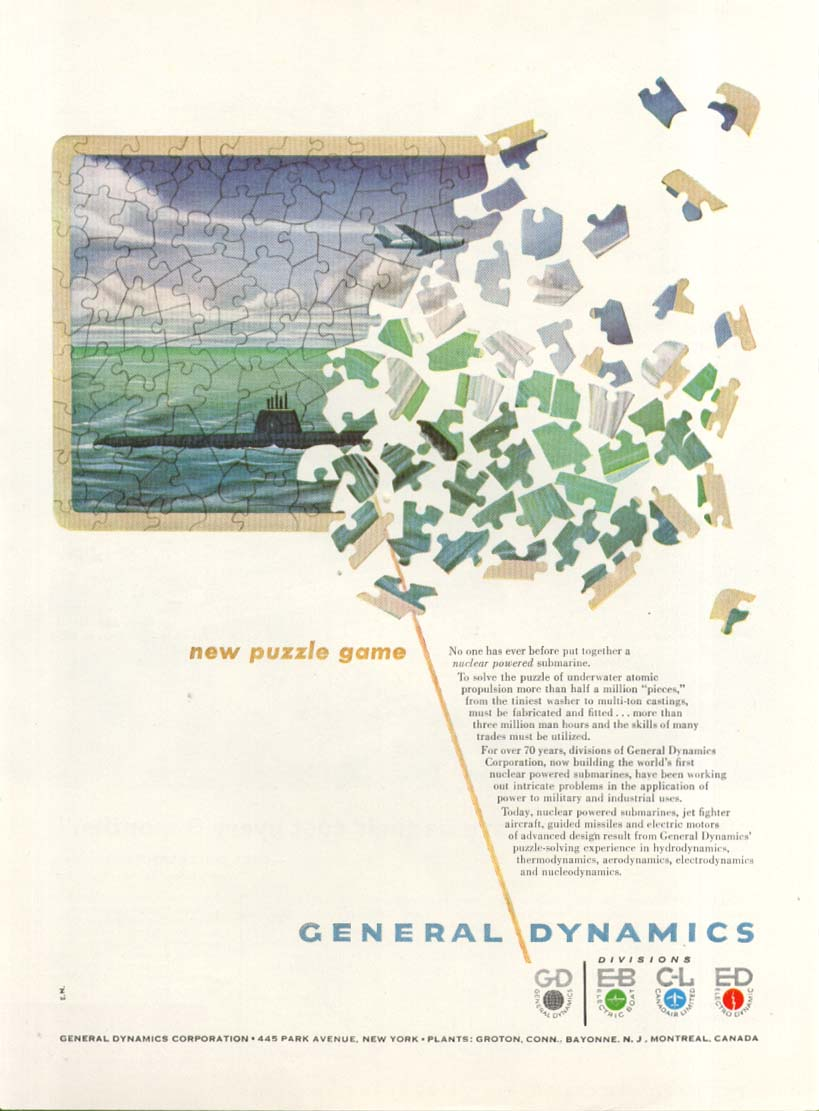 Image for New Puzzle Game General Dynamics Nuclear Sub ad 1953