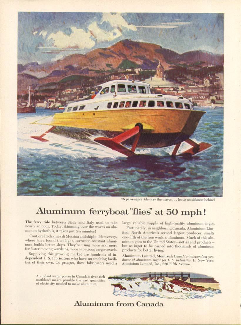 Aluminum Hydrofoil Ferryboat 50mph Aluminium ad 1957