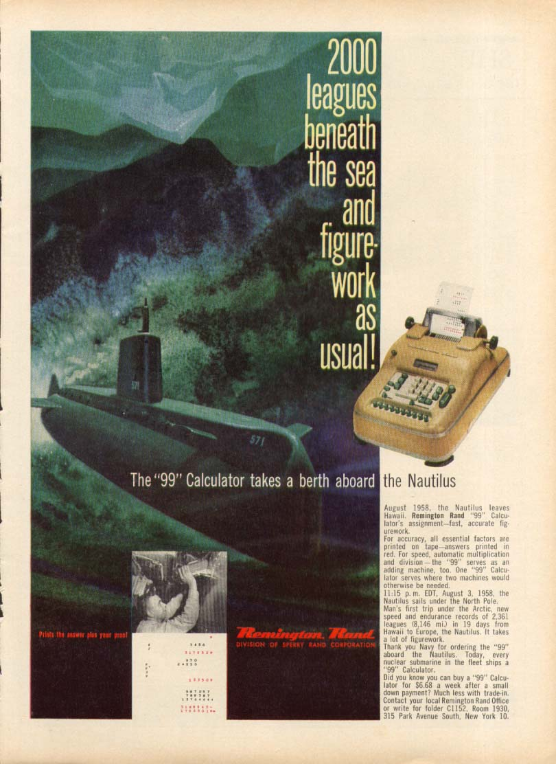 SSN-571 Nautilus Remington Rand Calculator ad 1959