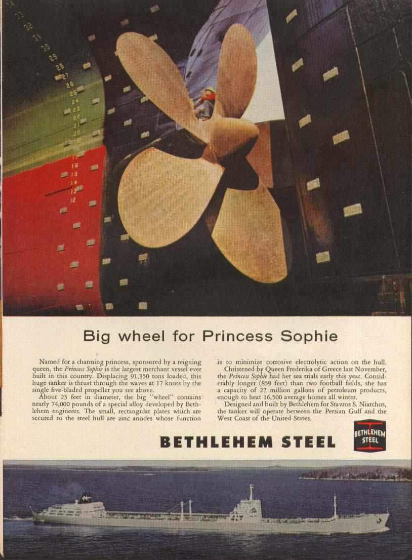 Tanker S S Princess Sophie Bethelehem Steel ad 1959