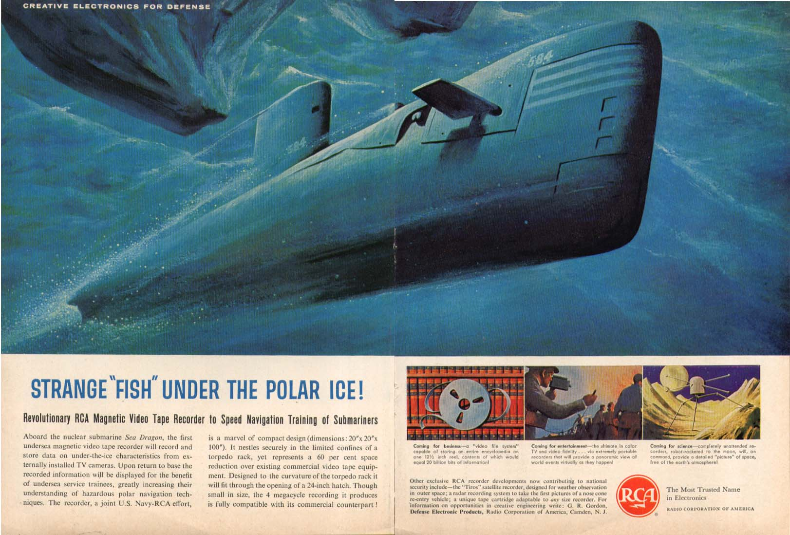 SSN-584 Sea Dragon Under Polar Ice RCA ad 1960