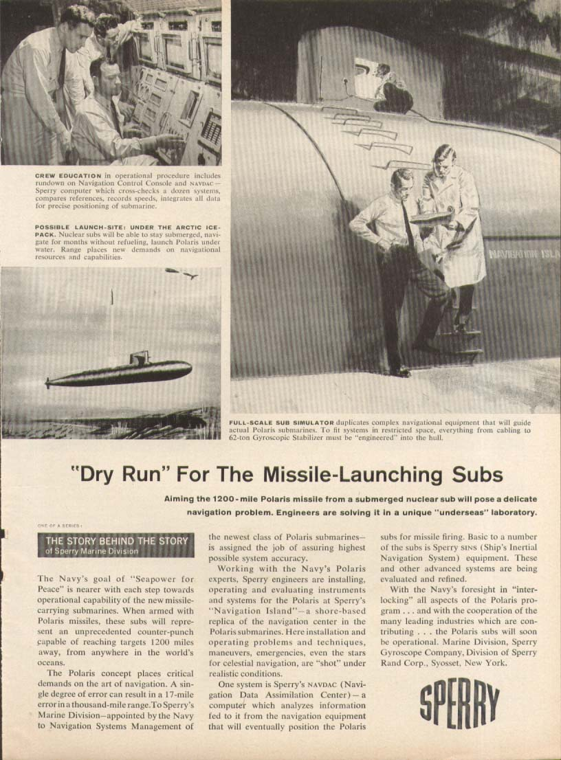 Image for Dry Run Missile-Launching Nuclear Subs Sperry ad 1960