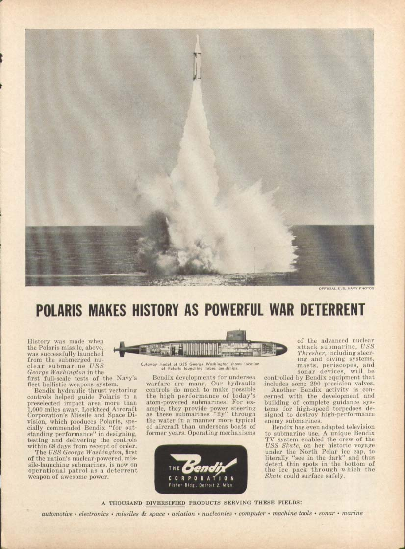 USS George Washington Polaris Sub Bendix ad 1961