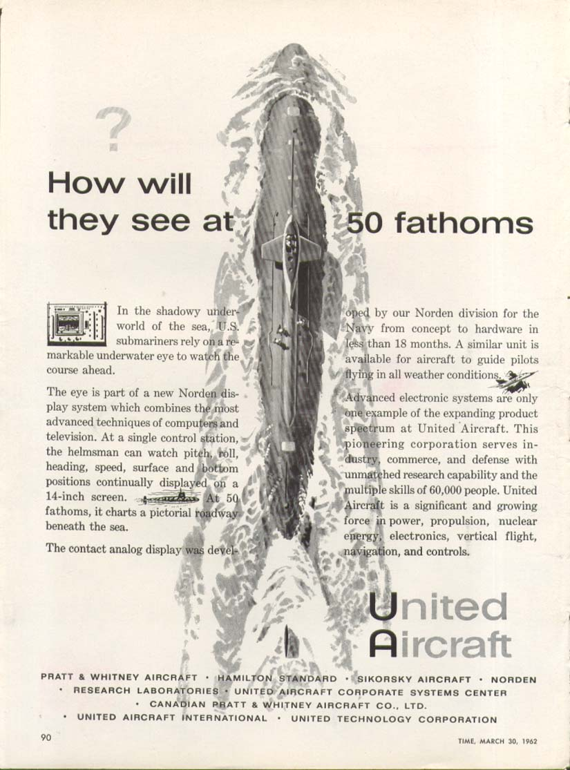 How they see at 50 fathoms United Aircraft sub ad 1962