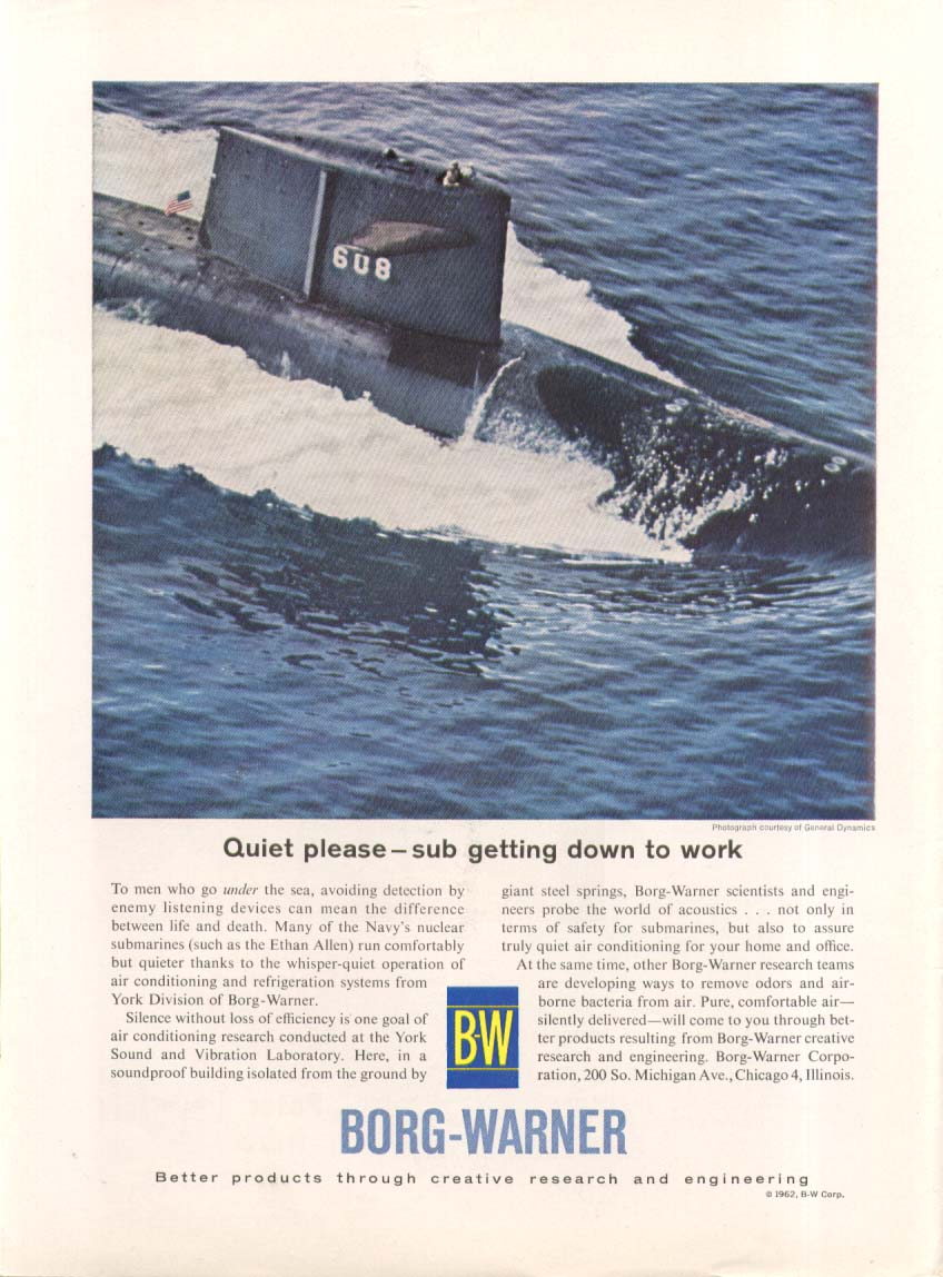 SSBN-608 Ethan Allen Quiet Please Borg-Warner ad 1962