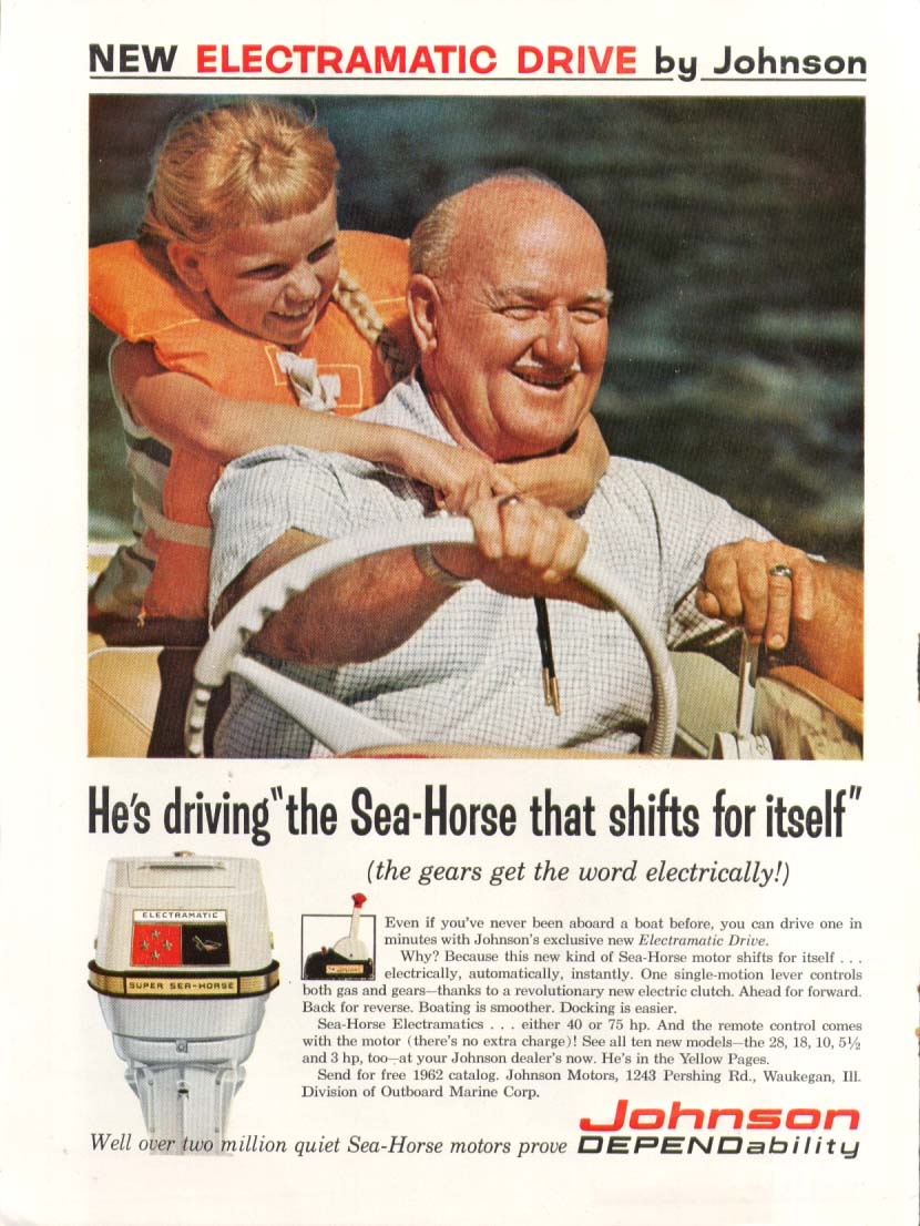 Image for Sea-Horse that shifts itself Johnson Outboard ad 1962