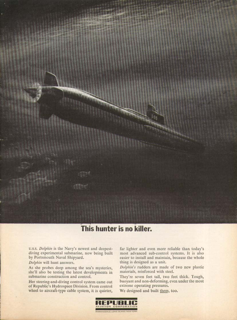 AGSS-555 Dolphin Sub Hunter no Killer Republic ad 1963