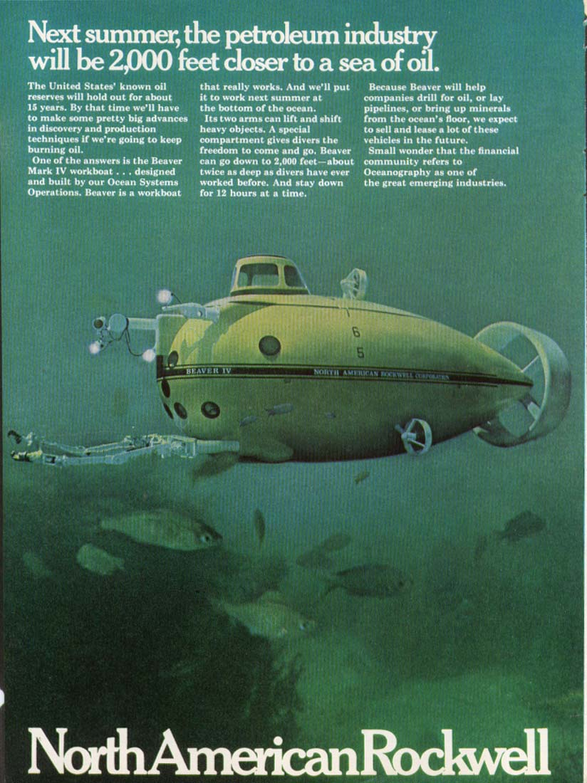 Image for North American Rockwell Beaver IV Sub Explorer ad 1968