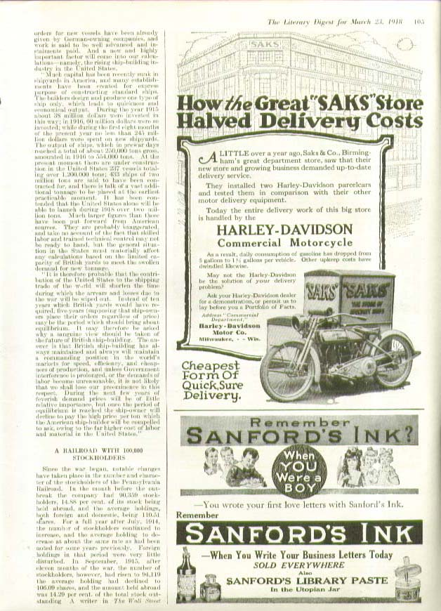 Image for How Saks Store Halved Delivery Costs Harley-Davidson Motorcycle ad 1918