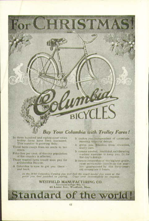 For Christmas! Buy Your Columbia Bicycle with Trolley Fares! Ad 1919