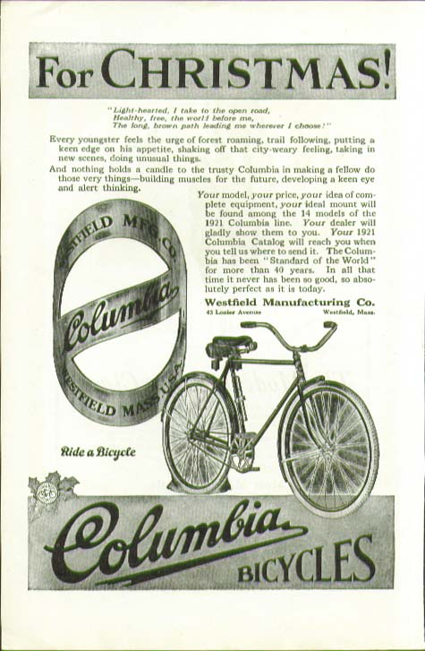 For Christmas! Every youngster feels the urge Columbia Bicycle ad 1920