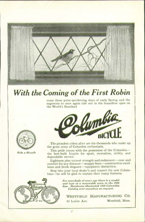 With the coming of the First Robin Columbia Bicycle ad 1920
