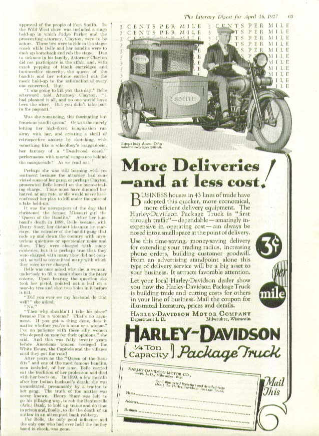 Image for More deliveries less cost Harley-Davidson Sidecar Motorcycle ad 1927