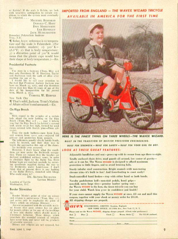 Imported from England 1st Time in America Wavex Wizard Tricycle ad 1947