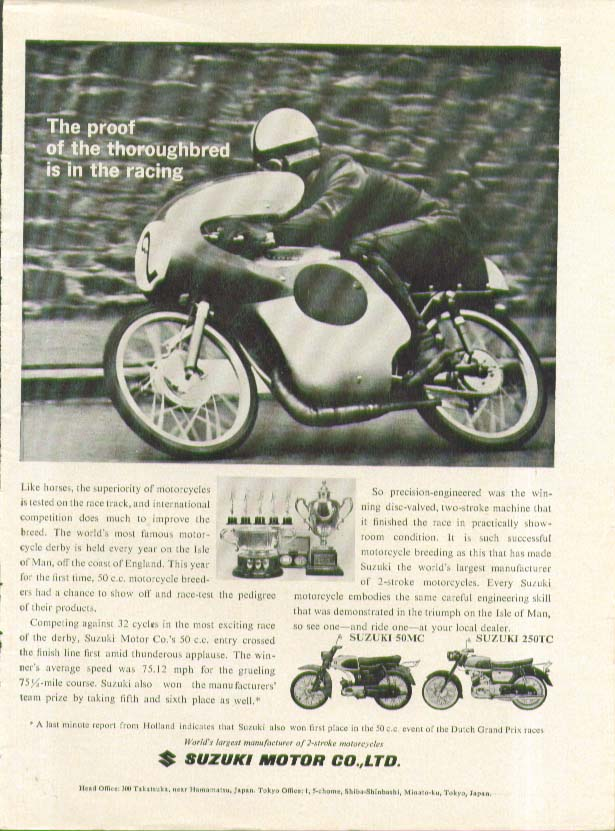 Image for Proof of the thoroughbred is in racing Suzuki 50MC 250TC Motorcycle ad 1962