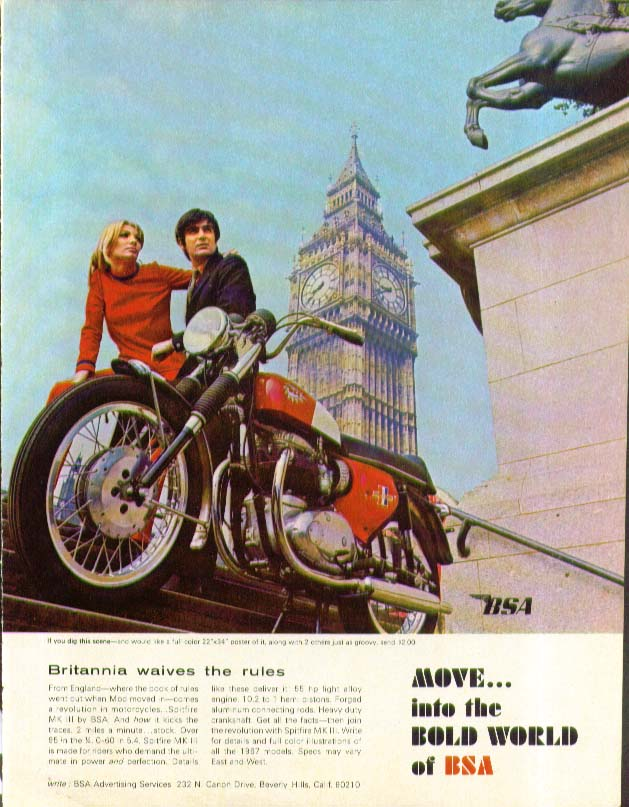 Britannia waives the rules BSA Spitfire MK III Motorcycle ad 1967