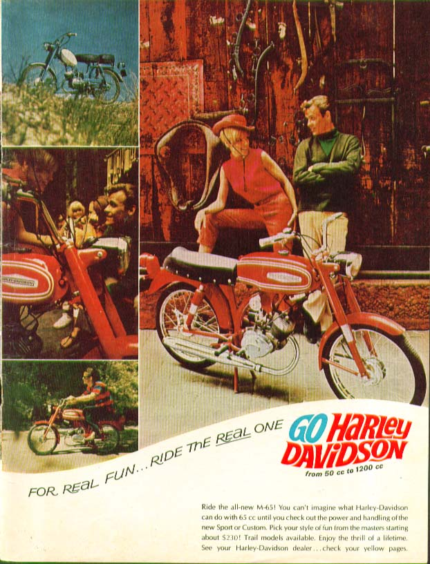 For Real Fun Ride the Real One Harley-Davidson M-65 Motorcycle ad 1967