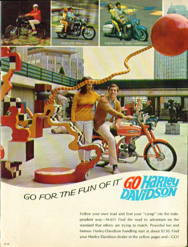 Go for the Fun of it Harley-Davidson M-65 Motorcycle ad 1967