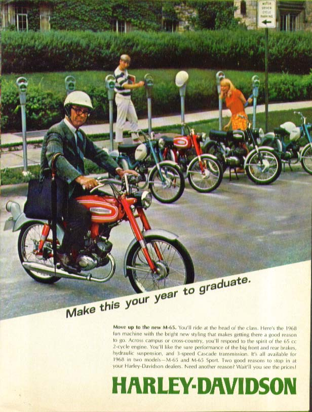 Image for Make this your year to graduate Harley-Davidson M-65 motorcycle ad 1968